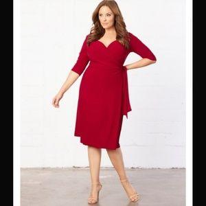 KIYONNA Sweetheart Wrap Dress, Red, Size 3X
